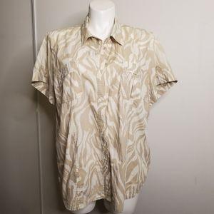 Michael Kors Tan Animal Print Button Shirt
